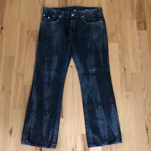 True Religion bleached straight leg jeans